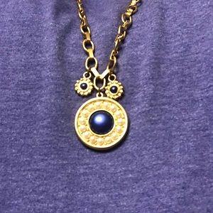 LIZ CLAIBORNE GOLD CHAIN BLUE STONE PENDANT PIECE